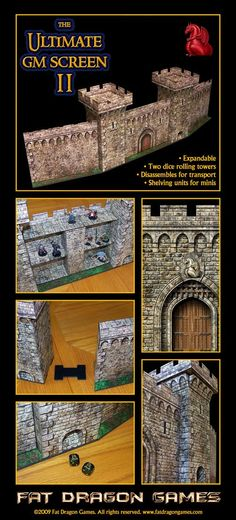 Castle style DM screen with 2 dice towers and shelves for minis