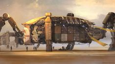 Mining or outpost settlement ship on a faraway planet, #spaceopera #scifi inspiration