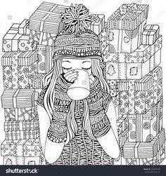 Winter Girl And Cup Of Coffee Holiday Gifts Adult Coloring Book Page Hand