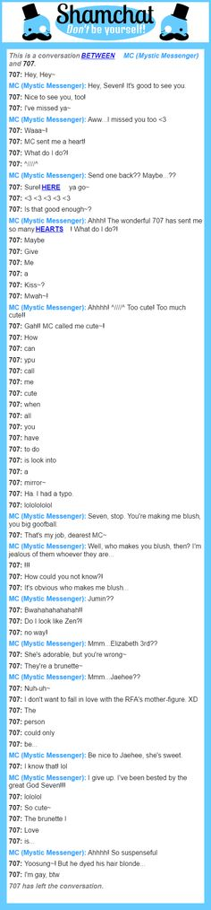 A conversation between 707 and MC (Mystic Messenger)