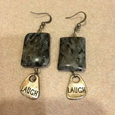 """Beautiful and fun earrings!  NEW Black and gray marble with silver """"laugh"""" dangling below. Jewelry Earrings"""