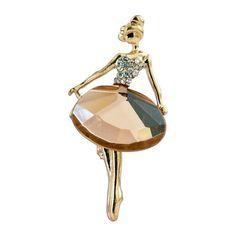 Topaz Crystal Gold Plated Ballerina