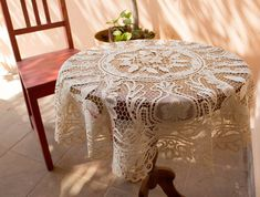 Vintage Lace Tablecloth Table Topper Point de by BelladonaVintage