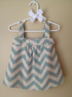 Baby Girl Chevron Canvas Dress and Matching Hair Bow - 6M /12M - 18M/2T - 3/ 4T. $45.00, via Etsy.