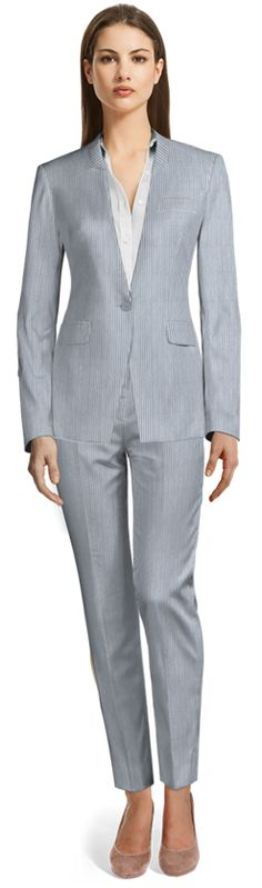 here are many opinions regarding Seersucker suits; some think it's not flattering, which sure, can be true if you wear the wrong Seersucker suit. We're here to show you how to avoid these problems when wearing the right one. Tailored Suits, Blue Pants, Business Attire, Seersucker, Summer Wardrobe, Custom Clothes, Suits For Women, Custom Made, Suit Jacket