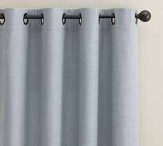 Emery Linen/Cotton Grommet Drape | Pottery Barn Perfect for the living and dining rooms.