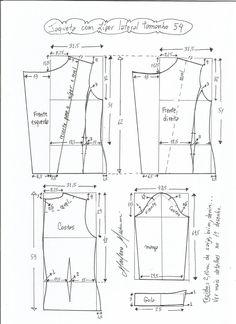 Esquema de modelagem de jaqueta com zíper e transpasse tamanho 54.