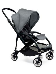 """Bugaboo Bee3 / Black Frame / Grey Melange Seat and Canopy. The only stroller Levon will ever need. The fabric is gorgeous, the stroller is light, it's easy to fold, the seat faces both ways, the canopy extends, the handle bar is adjustable (which is very important if your husband is 6'3""""), and it turns on a dime."""