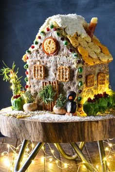 Shake up tradition this holiday season with this Holiday Cheese & Cracker House, which is like a savory gingerbread house. Get creative with things like cheese, crackers, pretzels, herbs and veggies! Christmas Appetizers, Christmas Treats, Christmas Cookies, Christmas Baking, Christmas Time, Christmas Foods, Holiday Baking, Merry Christmas, Sausage Squares