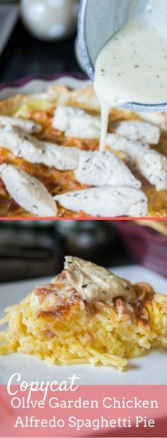 A delicious copycat Olive garden spaghetti pie featuring grilled chicken and alfredo sauce! copycat olive garden / copycat recipes / alfredo / spaghetti pie