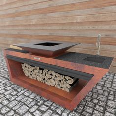 Barbecue Design, Fake Fireplace, Weathering Steel, Wood Rack, Fire Pit Table, Bbq Grill, Outdoor Cooking, Bars For Home, Metal Working