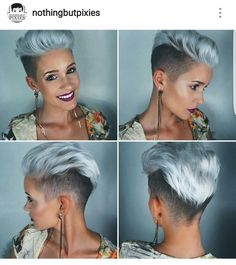 Mohawk cut for women Silver Trend Modern frisuren frauen frisuren männer hair hair women Hair Inspo, Hair Inspiration, Corte Y Color, Funky Hairstyles, Medium Hairstyles, Wedding Hairstyles, Drawing Hairstyles, Shaved Side Hairstyles, Rihanna Hairstyles