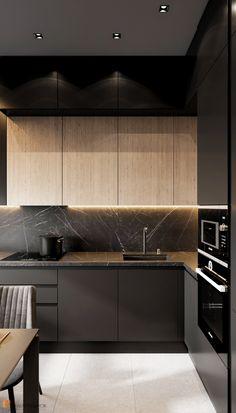Industrial Kitchen Design, Kitchen Room Design, Contemporary Kitchen Design, Kitchen Cabinet Design, Kitchen Sets, Home Decor Kitchen, Kitchen Layout, Interior Design Kitchen, Modern Kitchen Cabinets