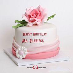Enter Your Name on Birthday Cake - eNameWishes Birthday Cake Write Name, Heart Birthday Cake, Birthday Msgs, Birthday Wishes With Name, Barbie Birthday Cake, Birthday Cake Writing, Birthday Cake With Flowers, Birthday Cake Pictures, Cake Name