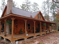 House plans on pinterest wrap around porches log homes for Full wrap around porch log homes