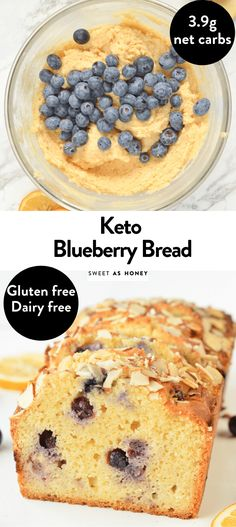 This keto blueberry bread is a delicious healthy and soft keto blueberry cake with only net carb per slice. Paleo, dairy free and gluten free. Low Carb Bread, Keto Bread, Low Carb Keto, Low Carb Recipes, Desserts Keto, Keto Snacks, Dessert Recipes, Coconut Flour Bread, Almond Flour