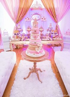 Beautiful pink and gold princess birthday party! See more party ideas at CatchMyParty.com!