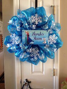 Frozen Deco Mesh Wreath by DecoWreathsByTrisha on Etsy