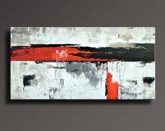 """48"""" ORIGINAL art abstrait peinture noir blanc gris rouge sur toile contemporain abstrait moderne Art Wall Decor - sans étirement - AB58i1"""