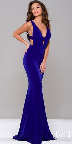 6744ac3676ccb Plunging V-Neck Cutout Evening Dress from JVN by Jovani. Sexy and simple  floor length form ...