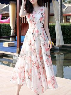 \nthe dress is floral printed and slim. Long Gown Dress, Chiffon Maxi Dress, Floral Maxi Dress, Floral Chiffon, Swing Dress, Stylish Dresses, Nice Dresses, Casual Dresses, Summer Dresses