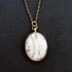 wedding dress reuse... Vintage Lace Antiqued Bronze Oval Pendant by greengrassgifts, $35.00