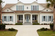 Exterior Paint Colors - Blue-Gray Shutter and Door Paint Color is Benjamin Moore Coventry Gray. The exterior features painted brick and shingles. Cottage Exterior Colors, White Exterior Houses, Exterior Paint Colors For House, Paint Colors For Home, Paint Colours, House Shutter Colors, Ivory Paint Color, Gray Exterior, Grey Paint