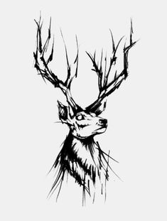 Design by Sketch style by Stag Tattoo Design, Deer Tattoo, Raven Tattoo, Tattoo Designs, Tattoo Ink, Arm Tattoo, Cover Up Tattoos, Tattoo Drawings, Body Art Tattoos