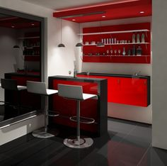 Red, white and black mini-bar in home.