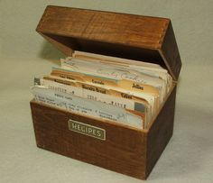 old wooden recipe box..