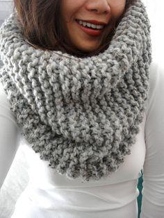 LuluLuvs - Handmade in Brooklyn, Chunky Knit Hope scarf, Mineral Gray