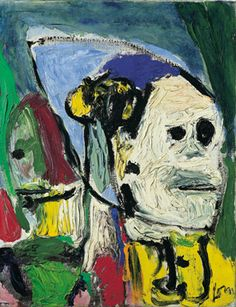 Asger Jorn, echter kobold, 1958-59 - more masks. Danish painter whose style was influenced by James Ensor and Paul Klee, created an emotional impact through the use of strong colors and distorted forms