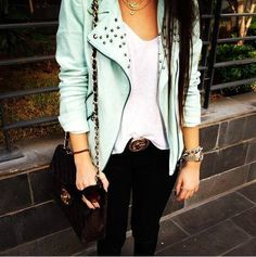 Cute edgy outfit studded jacket blue professional