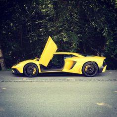 Lamborghini Aventador Super Veloce painted in Giallo Orion  Photo taken by: @Alexandre.mourreau On Instagram