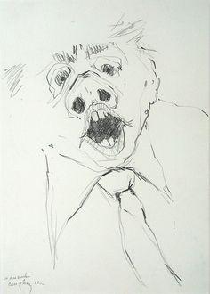 """Bernardo CRESPIN : """"En desacuerdo"""" ; lápiz sobre papel ; 49 x 35cm ; 1987 ; colección MDAA (adquirido en 1987 de la Galeria Humberto Saravia)"""