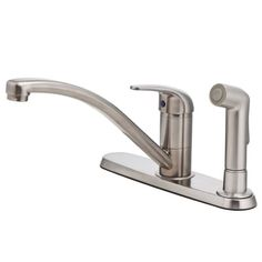 Pfister Pfirst Series 1-Handle 3-Hole Mid-Arc Kitchen Faucet w/Side Spray in Stainless Steel Pforever Seal?advanced ceramic disc valve technology with a never leak guarantee. Rated to meet or exceed CALGreen criteria, which helps to conserve water in the average home by at least 20 percent. Includes coordinating, decorative side spray. Includes decorative deckplate. Spout swivels 360 degrees for m... #Pfister #HomeImprovement