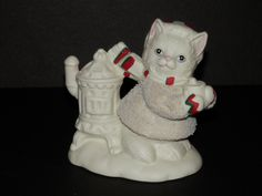 Lefton China Kitty Snowflake 1994 Figurine Christmas Winter White Cat Collectible Scarf Hat Cocoa Vintage G Z L Holiday by TresorsEnchantes on Etsy