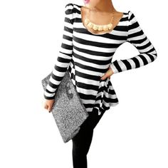 Scoop Neck, Long Sleeves, Strips, Stretchy, Pullover, Casual Tunic Shirt.The model in our picture is about 5.3Ft tall.Asian Size L=US Size 12. Women Tunic Shirt ONLY, other accessories photographed not included.Please check your measurements to make sure the item fits before ordering.