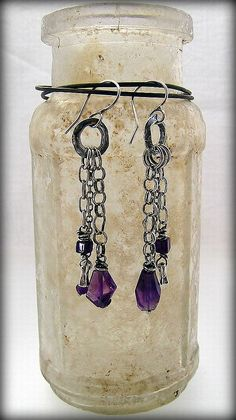 Urban Primitive, Amethyst and Chain Collage earrings ... more jangly lovelies ... kathy van kleeck