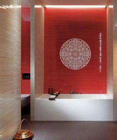 Tile motif would add a nice backdrop to the bath tub