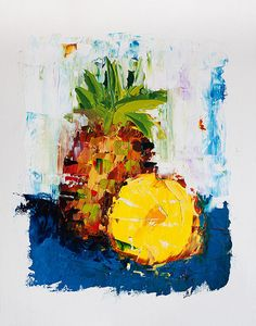 Impressionist Oil Painting - Painting on Paper - Pineapple Fruit Painting - Textured Impasto Palette Knife Art by ebuchmann, $100.00