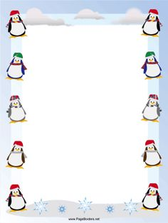Happy, waddling penguins in winter scarves and hats decorate this free… Boarder Designs, Page Borders Design, Christmas Border, Christmas Frames, Borders For Paper, Borders And Frames, Christmas Stationery, Christmas Letterhead, Student Planner Printable