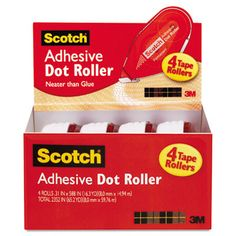 ADHESIVE,DOT ROLLR VP,WH