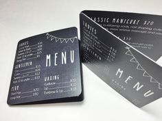 These salon menus are perfect for clients to grab and easily put in their pocket or purse. The chalkboard design and rounded corners will make them stand out!  { o r d e r } This listing is for either a printable digital file customized for you OR printed 4 x 4 folded menu card (4 x 8 when open) with printing on the front, inside, and back, and with rounded corners. You can choose the DIGITAL FILE option if youd like to print the file on your own or you can choose PRINTED in quantity…