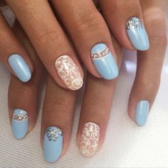 Blue and white nails, Blue moon nails, Cool nails, Elegant nails, Evening nails…