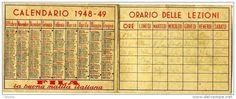 CALENDARIO SCOLASTICO PUBBLICITA´ MATITA FILA ANNO 1948/49