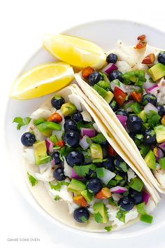 Fish Tacos with Blueberry-Almond Salsa -- perfectly sweet and savory, naturally gluten-free, and SO GOOD!