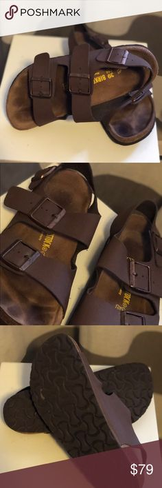 Birkenstock sandals size L 8.5/39/250 regular Birkenstock sandals size 8.5-9/39/250. Barely worn, like new! Footprint on footbed I s unavoidable with birks. Reposh — they are too wide for me. Two top straps plus ankle strap. I think the color is mocha. They are a lovely soft brown color. Birkenstock Shoes Sandals