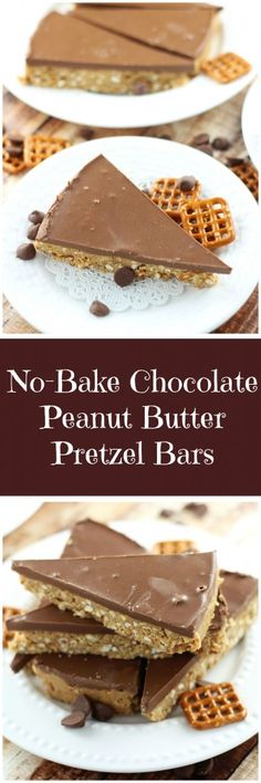 If it's not enough that these bars contain the power team of peanut butter and chocolate, they are even more delicious because they are made from crushed pretzels and melted butter as a base!
