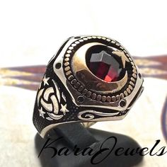 925 Sterling Silver Men's ring with Crescent Star Ruby red CZ all sizes #KaraJewels #Turkish